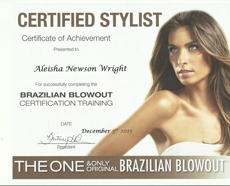Brazilian Blowout Certification Aleisha Newson Wright Phoenix, AZ