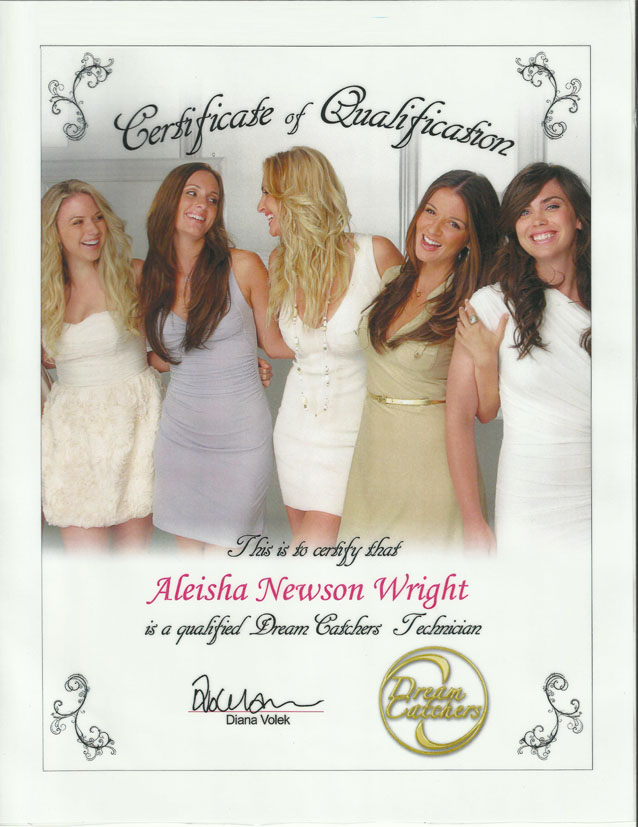 DreamCatchers Hair Extensions Certification Aleisha Newson Wright Phoenix, AZ